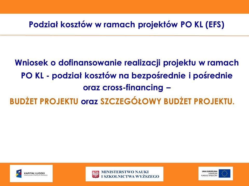 Podział kosztów w ramach projektów PO KL (EFS) Wniosek o dofinansowanie realizacji projektu w ramach PO KL - podział kosztów na bezpośrednie i pośredn