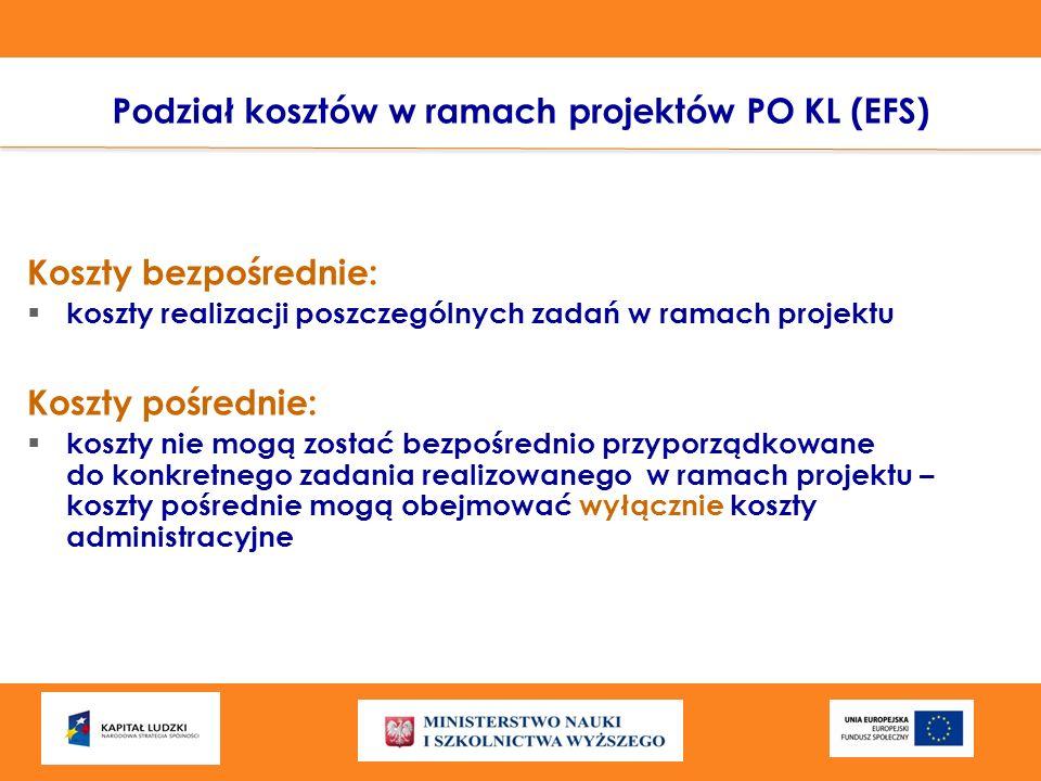 Podział kosztów w ramach projektów PO KL (EFS) Koszty bezpośrednie: koszty realizacji poszczególnych zadań w ramach projektu Koszty pośrednie: koszty
