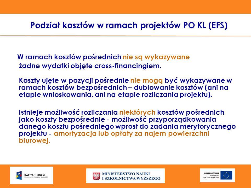 Podział kosztów w ramach projektów PO KL (EFS) W ramach kosztów pośrednich nie są wykazywane żadne wydatki objęte cross-financingiem. Koszty ujęte w p