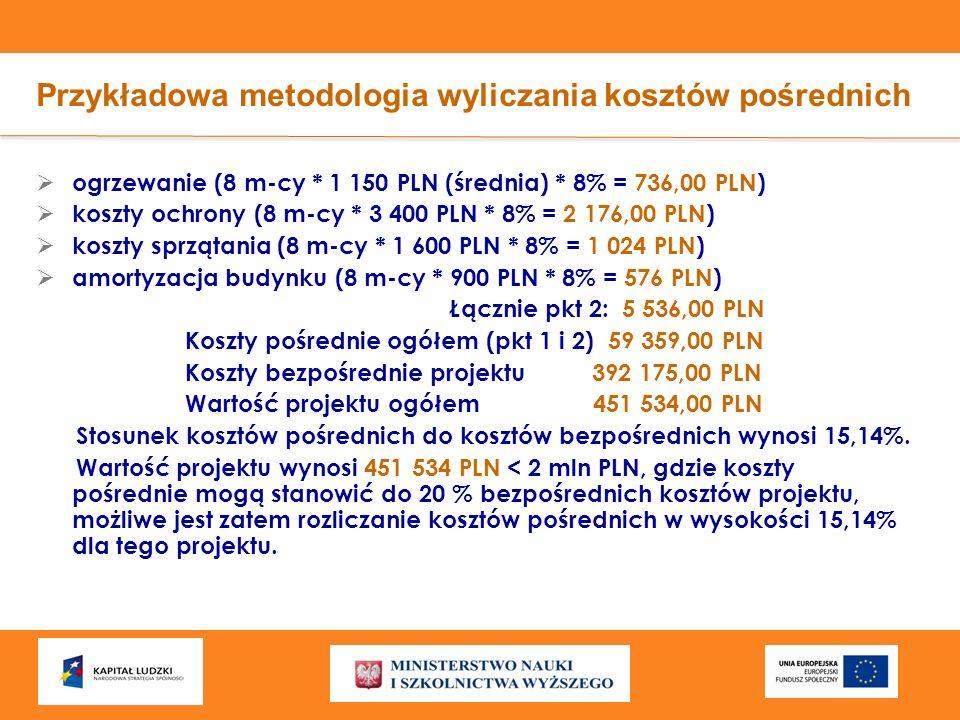 Przykładowa metodologia wyliczania kosztów pośrednich ogrzewanie (8 m-cy * 1 150 PLN (średnia) * 8% = 736,00 PLN) koszty ochrony (8 m-cy * 3 400 PLN *