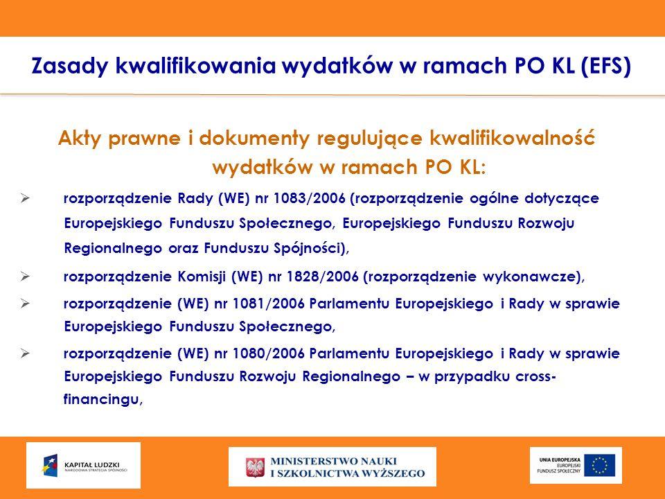 Zasady kwalifikowania wydatków w ramach PO KL (EFS) Akty prawne i dokumenty regulujące kwalifikowalność wydatków w ramach PO KL: rozporządzenie Rady (