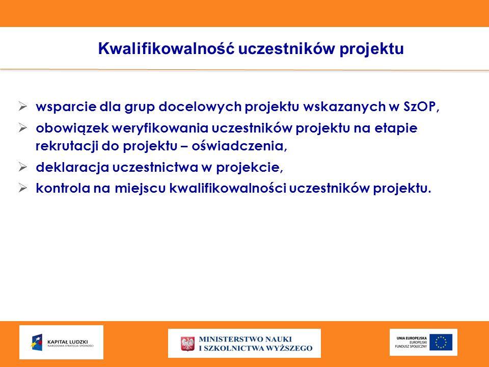 Kwalifikowalność uczestników projektu wsparcie dla grup docelowych projektu wskazanych w SzOP, obowiązek weryfikowania uczestników projektu na etapie