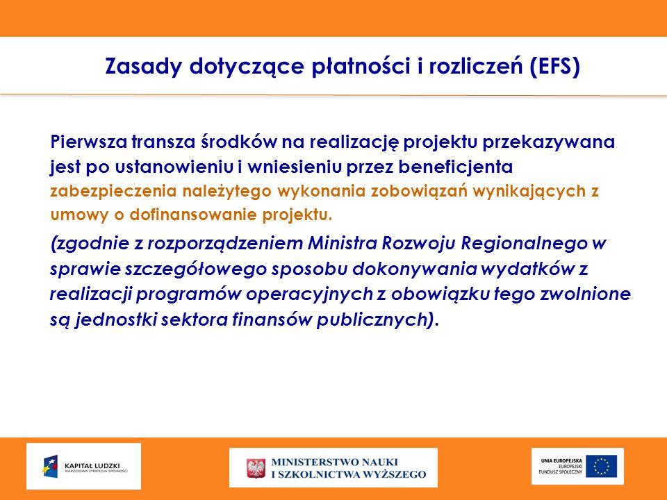 Zasady dotyczące płatności i rozliczeń (EFS) Pierwsza transza środków na realizację projektu przekazywana jest po ustanowieniu i wniesieniu przez bene