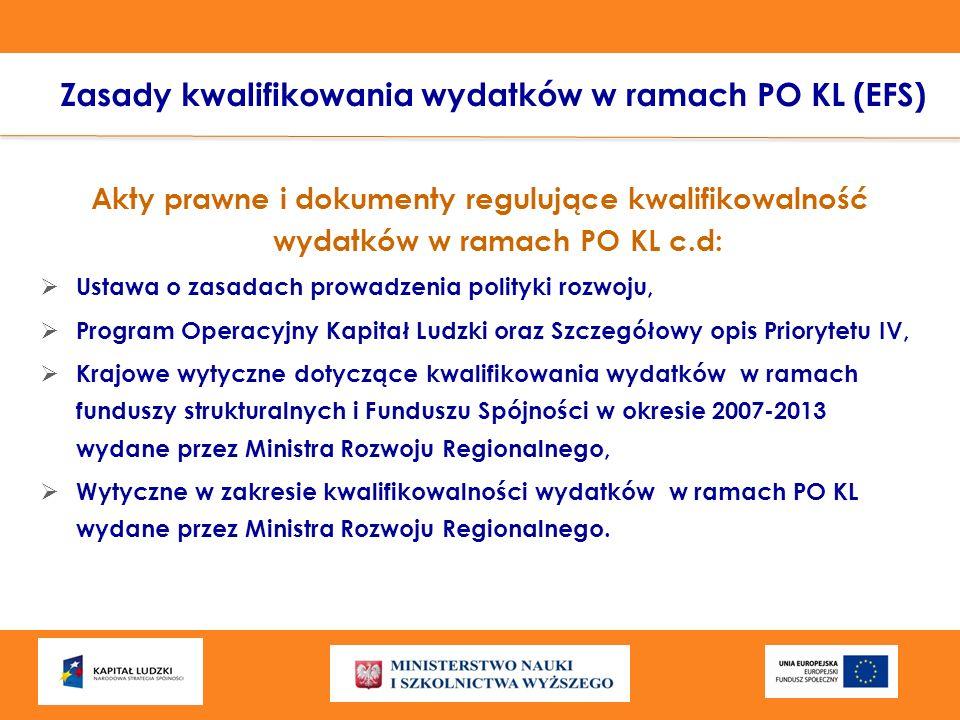 Zasady kwalifikowania wydatków w ramach PO KL (EFS) Akty prawne i dokumenty regulujące kwalifikowalność wydatków w ramach PO KL c.d: Ustawa o zasadach
