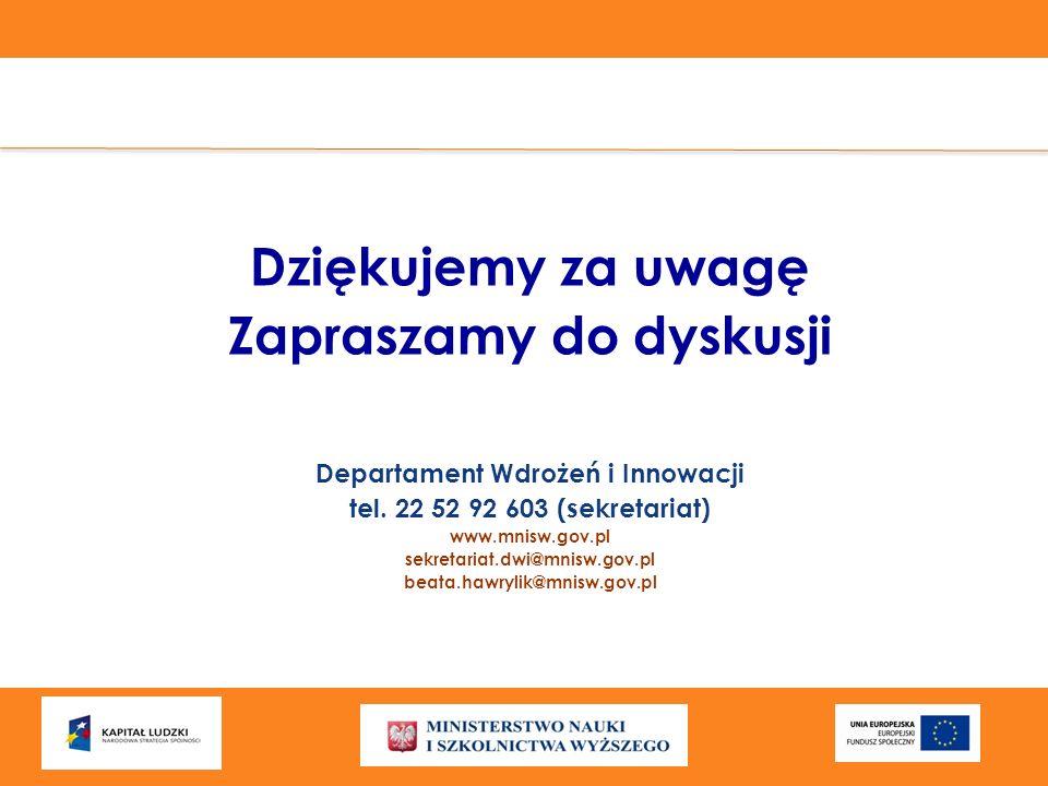 Dziękujemy za uwagę Zapraszamy do dyskusji Departament Wdrożeń i Innowacji tel. 22 52 92 603 (sekretariat) www.mnisw.gov.pl sekretariat.dwi@mnisw.gov.