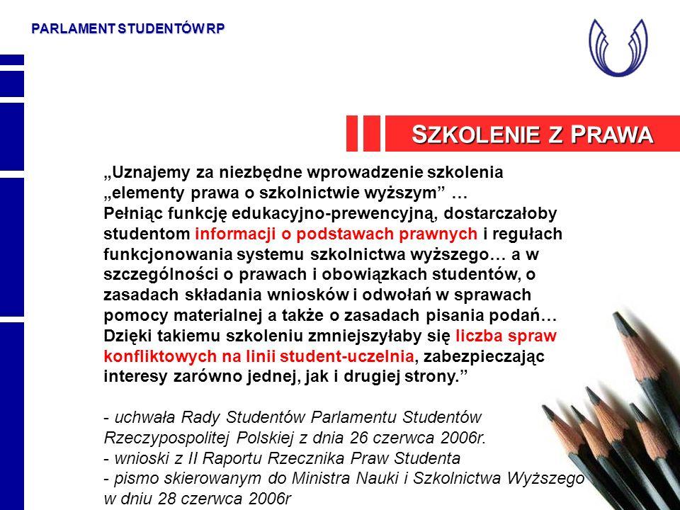 PARLAMENT STUDENTÓW RP S ZKOLENIE Z P RAWA Uznajemy za niezbędne wprowadzenie szkolenia elementy prawa o szkolnictwie wyższym … Pełniąc funkcję edukac