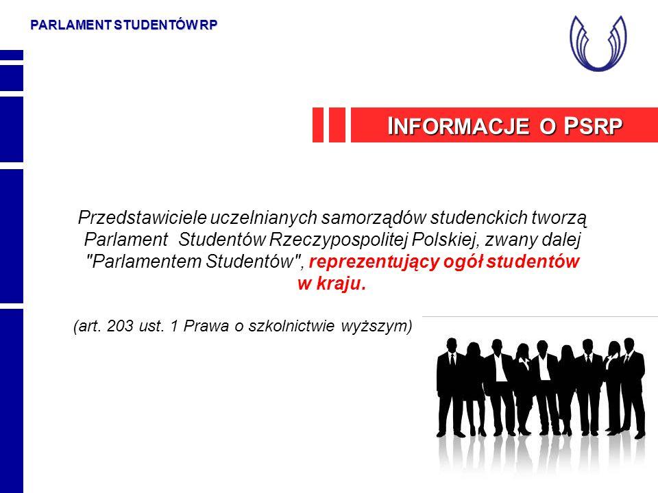 PARLAMENT STUDENTÓW RP Przedstawiciele uczelnianych samorządów studenckich tworzą Parlament Studentów Rzeczypospolitej Polskiej, zwany dalej