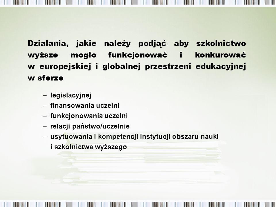 legislacyjnej finansowania uczelni funkcjonowania uczelni relacji państwo/uczelnie usytuowania i kompetencji instytucji obszaru nauki i szkolnictwa wyższego Działania, jakie należy podjąć aby szkolnictwo wyższe mogło funkcjonować i konkurować w europejskiej i globalnej przestrzeni edukacyjnej w sferze