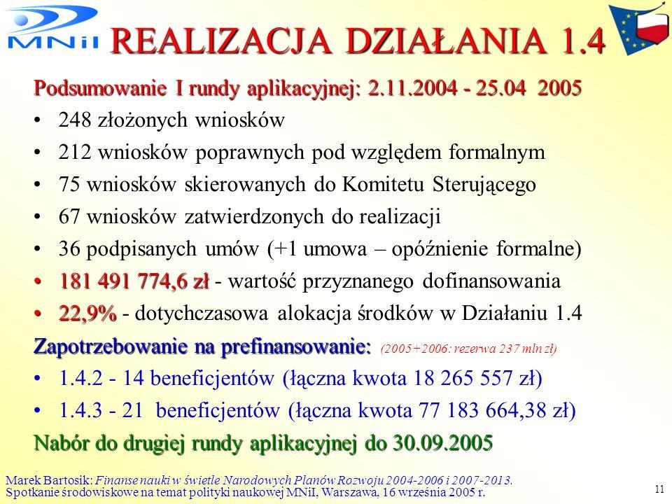 Marek Bartosik: Finanse nauki w świetle Narodowych Planów Rozwoju 2004-2006 i 2007-2013. Spotkanie środowiskowe na temat polityki naukowej MNiI, Warsz
