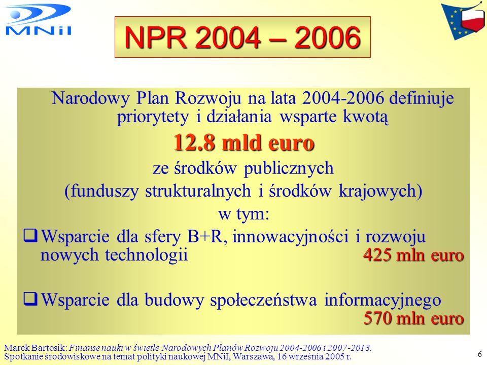 Marek Bartosik: Finanse nauki w świetle Narodowych Planów Rozwoju 2004-2006 i 2007-2013.