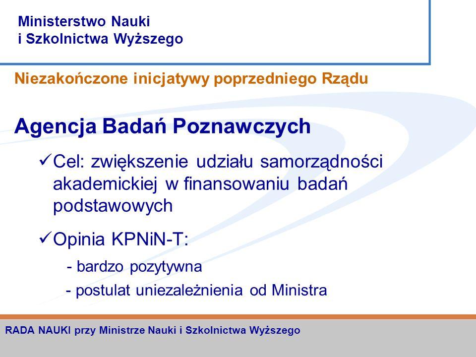 Ministerstwo Nauki i Szkolnictwa Wyższego RADA NAUKI przy Ministrze Nauki i Szkolnictwa Wyższego Niezakończone inicjatywy poprzedniego Rządu Krajowy P
