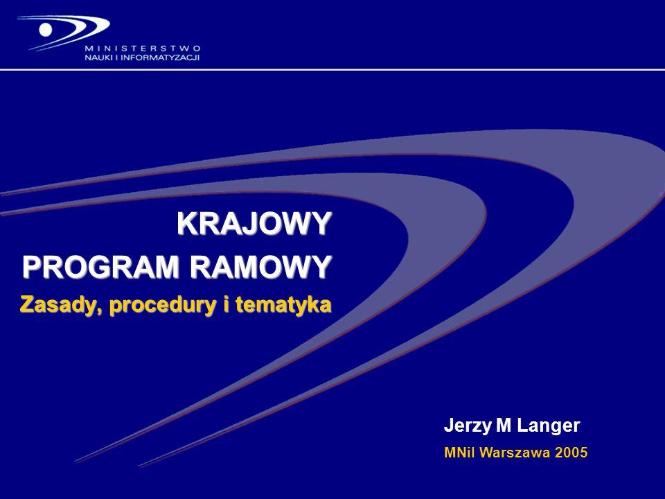 KRAJOWY PROGRAM RAMOWY Zasady, procedury i tematyka Jerzy M Langer MNiI Warszawa 2005