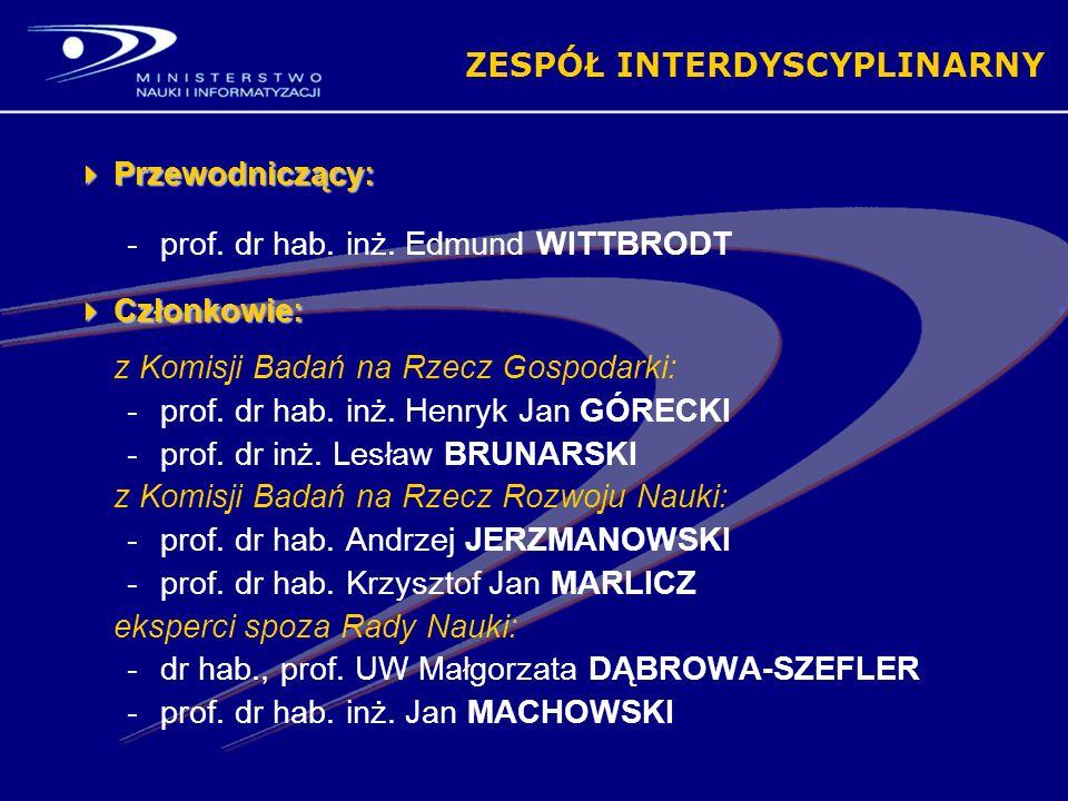 ZESPÓŁ INTERDYSCYPLINARNY Przewodniczący: Przewodniczący: -prof.