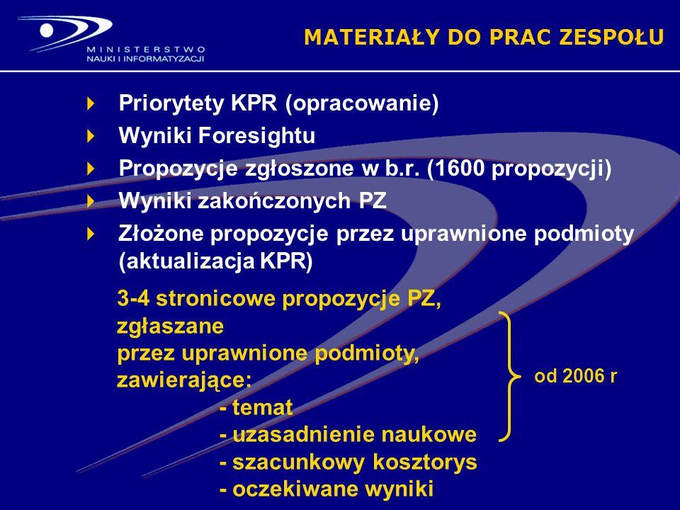 MATERIAŁY DO PRAC ZESPOŁU Priorytety KPR (opracowanie) Wyniki Foresightu Propozycje zgłoszone w b.r.