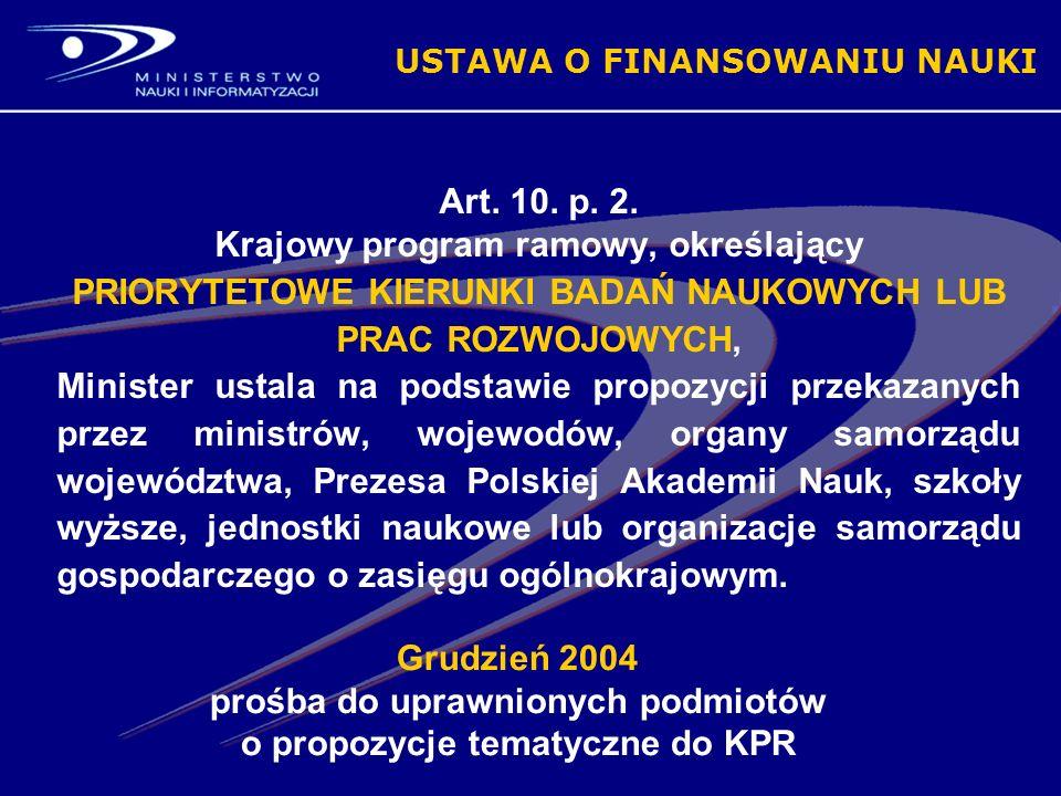 Grudzień 2004 prośba do uprawnionych podmiotów o propozycje tematyczne do KPR USTAWA O FINANSOWANIU NAUKI Art.