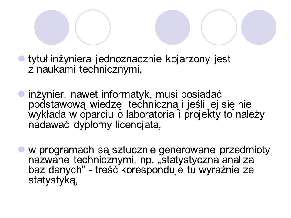 tytuł inżyniera jednoznacznie kojarzony jest z naukami technicznymi, inżynier, nawet informatyk, musi posiadać podstawową wiedzę techniczną i jeśli jej się nie wykłada w oparciu o laboratoria i projekty to należy nadawać dyplomy licencjata, w programach są sztucznie generowane przedmioty nazwane technicznymi, np.