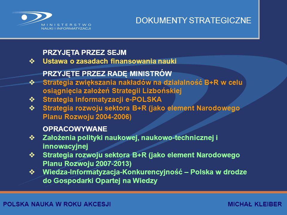 DOKUMENTY STRATEGICZNE PRZYJĘTA PRZEZ SEJM Ustawa o zasadach finansowania nauki PRZYJĘTE PRZEZ RADĘ MINISTRÓW Strategia zwiększania nakładów na działalność B+R w celu osiągnięcia założeń Strategii Lizbońskiej Strategia Informatyzacji e-POLSKA Strategia rozwoju sektora B+R (jako element Narodowego Planu Rozwoju 2004-2006) OPRACOWYWANE Założenia polityki naukowej, naukowo-technicznej i innowacyjnej Strategia rozwoju sektora B+R (jako element Narodowego Planu Rozwoju 2007-2013) Wiedza-Informatyzacja-Konkurencyjność – Polska w drodze do Gospodarki Opartej na Wiedzy POLSKA NAUKA W ROKU AKCESJI MICHAŁ KLEIBER
