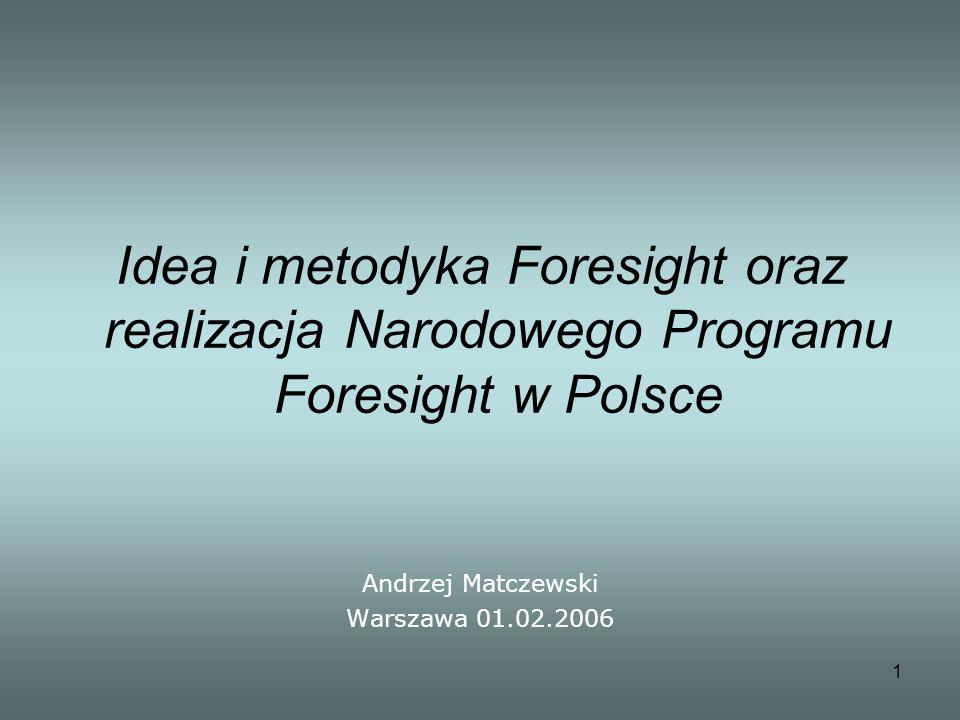 1 Idea i metodyka Foresight oraz realizacja Narodowego Programu Foresight w Polsce Andrzej Matczewski Warszawa 01.02.2006