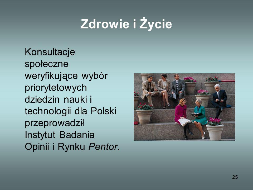25 Zdrowie i Życie Konsultacje społeczne weryfikujące wybór priorytetowych dziedzin nauki i technologii dla Polski przeprowadził Instytut Badania Opinii i Rynku Pentor.
