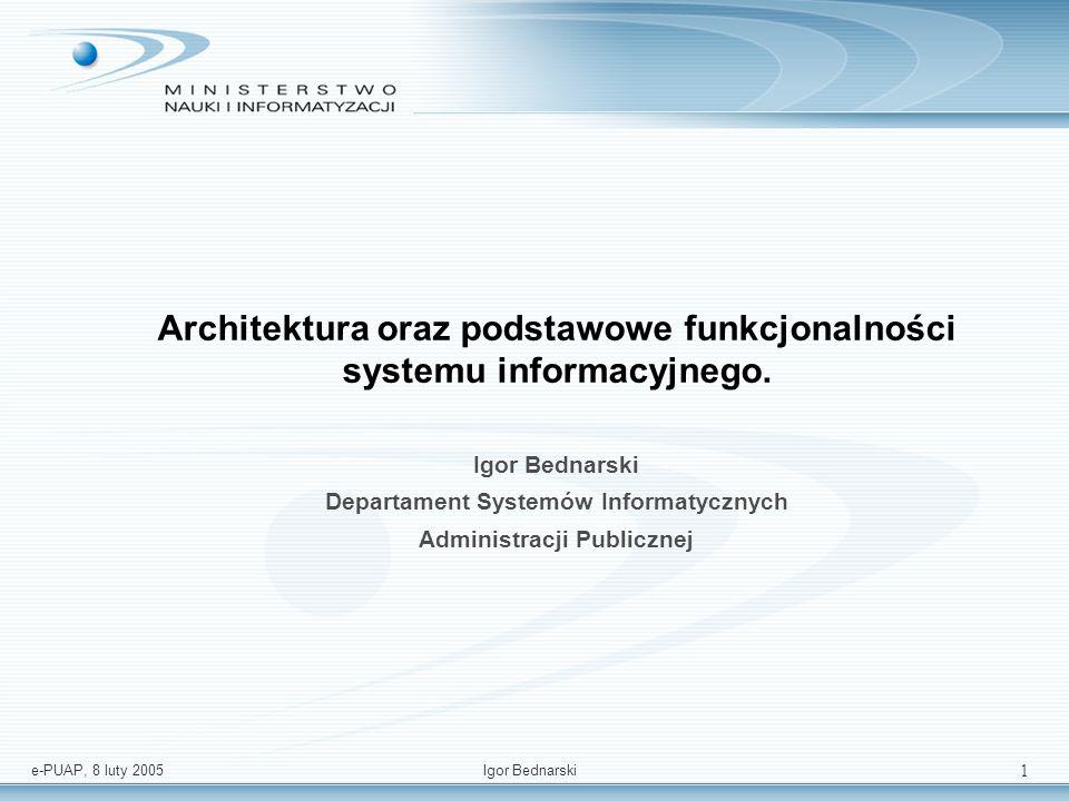 e-PUAP, 8 luty 2005Igor Bednarski 21 Rola: Brama Bramka – W modelu bramki e-PUAP umożliwia uwierzytelnianie użytkowników (niezbędna infrastruktura IAAA) oraz pozwalają na inicjację usługi z portali (wypełnienie formularza i przesłanie do zewnętrznego systemu).