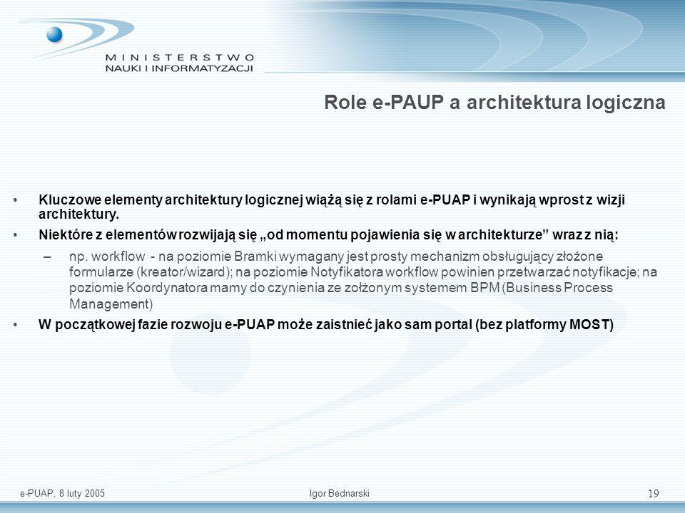 e-PUAP, 8 luty 2005Igor Bednarski 18 Architektura logiczna – podsumowanie USŁUGI WSPÓLNE PLATFORMA KOMUNIKACYJNA - MIDDLEWARE ADAPTER system jednostki