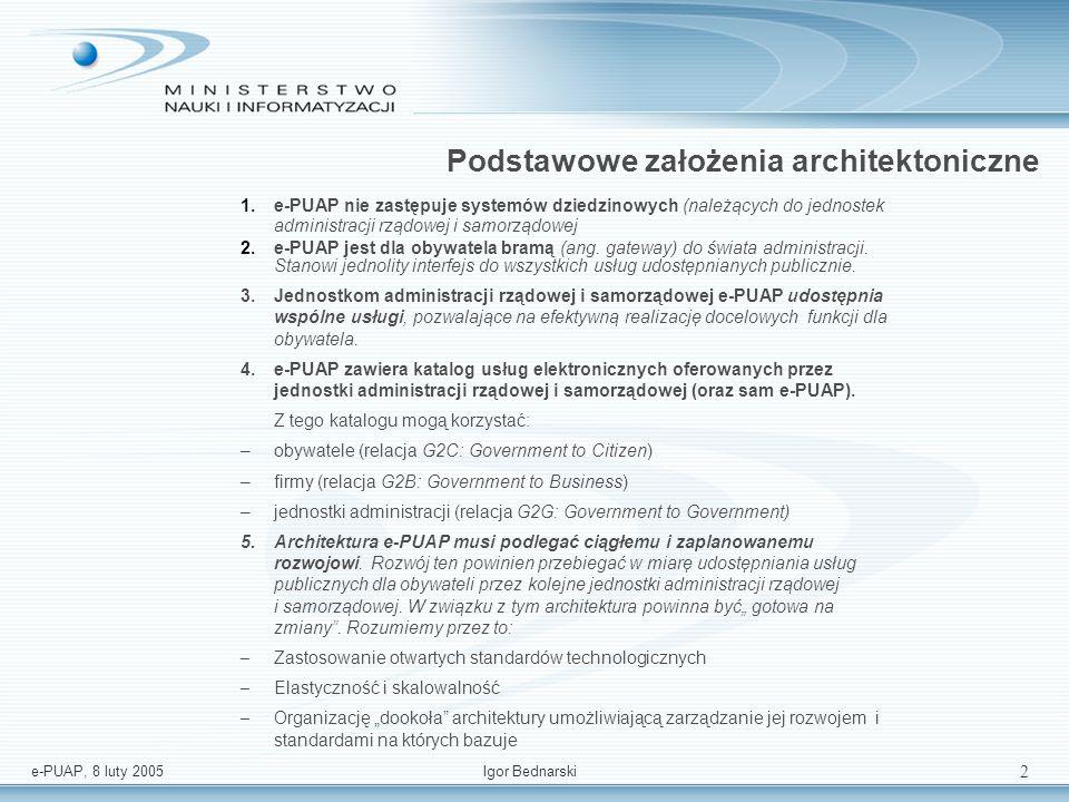 e-PUAP, 8 luty 2005Igor Bednarski 1 Architektura oraz podstawowe funkcjonalności systemu informacyjnego. Igor Bednarski Departament Systemów Informaty
