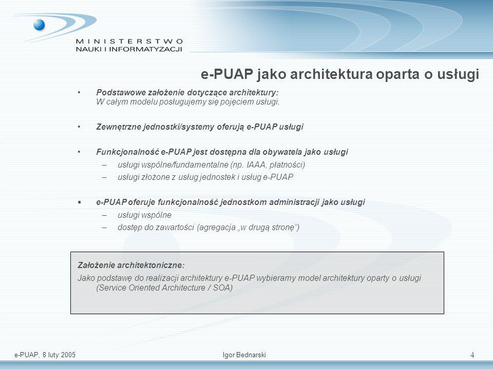 e-PUAP, 8 luty 2005Igor Bednarski 3 Podstawowe założenia architektoniczne jedn. A jedn. B jedn. C usługi i inf. dla klienta G2C G2B usługi i inf. dla