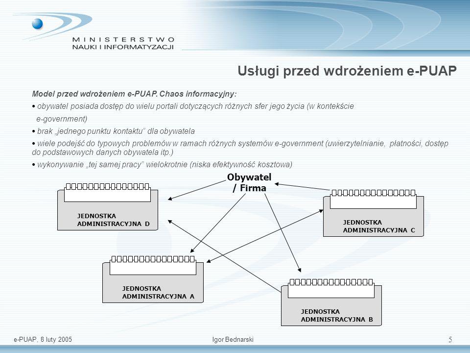 e-PUAP, 8 luty 2005Igor Bednarski 15 Warstwa prezentacji Us SUBSRIBER MANAGEMENT SMS SUBSRIBER MANAGEMENT WAP SUBSRIBER MANAGEMENT PDA SUBSRIBER MANAGEMENT WWW SUBSRIBER MANAGEMENT GUI SUBSRIBER MANAGEMENT E-MAIL SUBSRIBER MANAGEMENT SYNDYKACJA TREŚCI SUBSRIBER MANAGEMENT IVR SUBSRIBER MANAGEMENT CALL CENTER portal zew.
