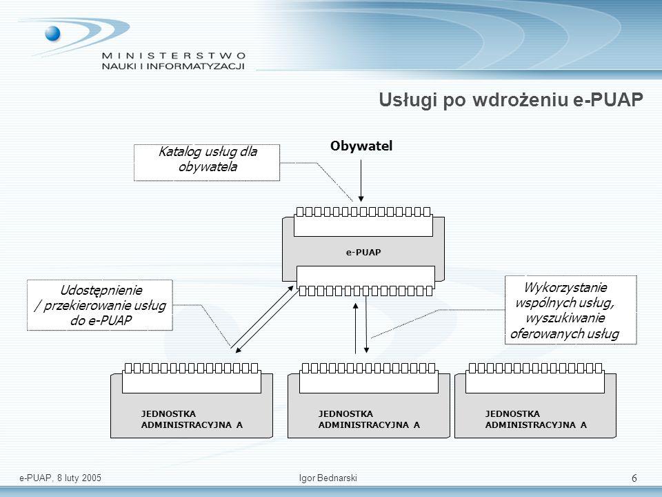 e-PUAP, 8 luty 2005Igor Bednarski 6 Usługi po wdrożeniu e-PUAP Obywatel e-PUAP Katalog usług dla obywatela JEDNOSTKA ADMINISTRACYJNA A JEDNOSTKA ADMINISTRACYJNA A JEDNOSTKA ADMINISTRACYJNA A Wykorzystanie wspólnych usług, wyszukiwanie oferowanych usług Udostępnienie / przekierowanie usług do e-PUAP