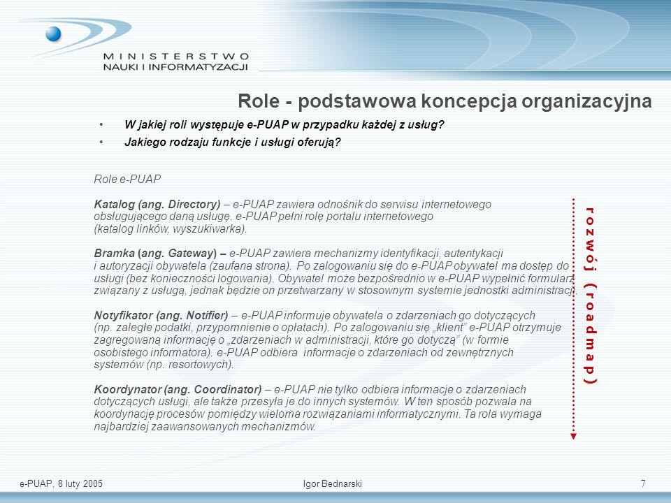 e-PUAP, 8 luty 2005Igor Bednarski 7 Role - podstawowa koncepcja organizacyjna W jakiej roli występuje e-PUAP w przypadku każdej z usług.