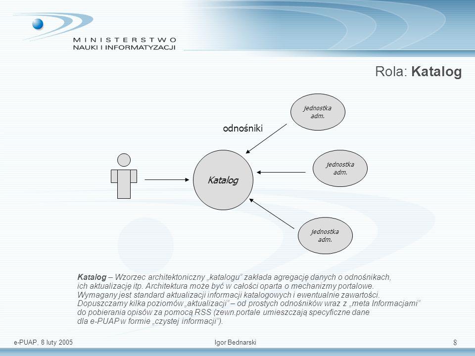e-PUAP, 8 luty 2005Igor Bednarski 18 Architektura logiczna – podsumowanie USŁUGI WSPÓLNE PLATFORMA KOMUNIKACYJNA - MIDDLEWARE ADAPTER system jednostki adm.