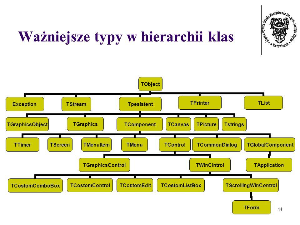 14 Ważniejsze typy w hierarchii klas TObject ExceptionTStreamTpesistent TGraphicsObjectTGraphicsTComponent TTimerTScreenTMenuItemTMenuTControl TGraphi