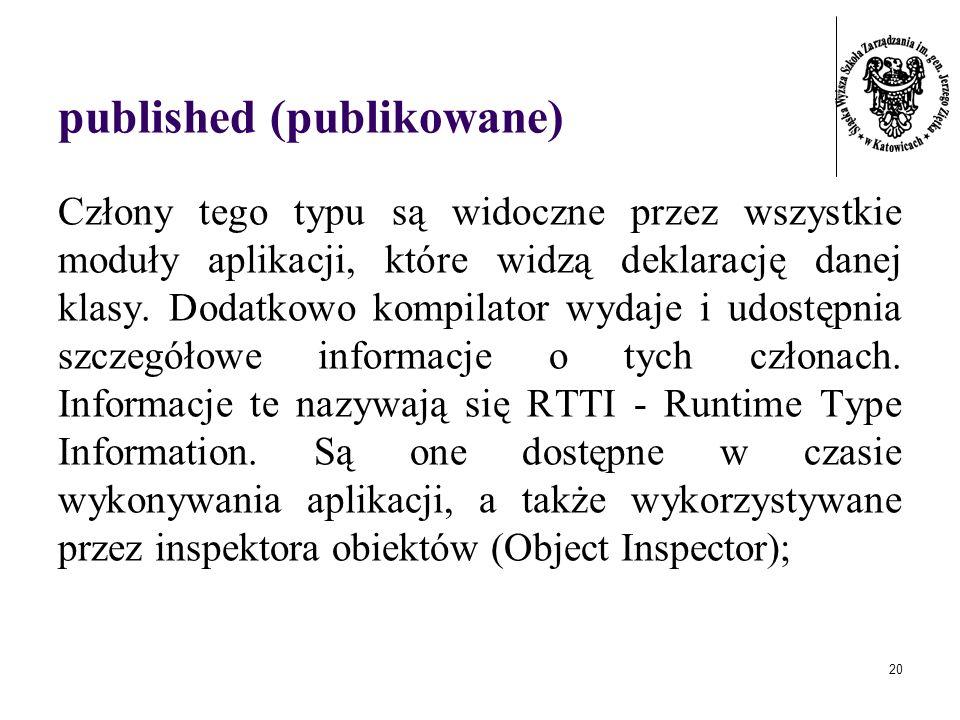 20 published (publikowane) Człony tego typu są widoczne przez wszystkie moduły aplikacji, które widzą deklarację danej klasy. Dodatkowo kompilator wyd