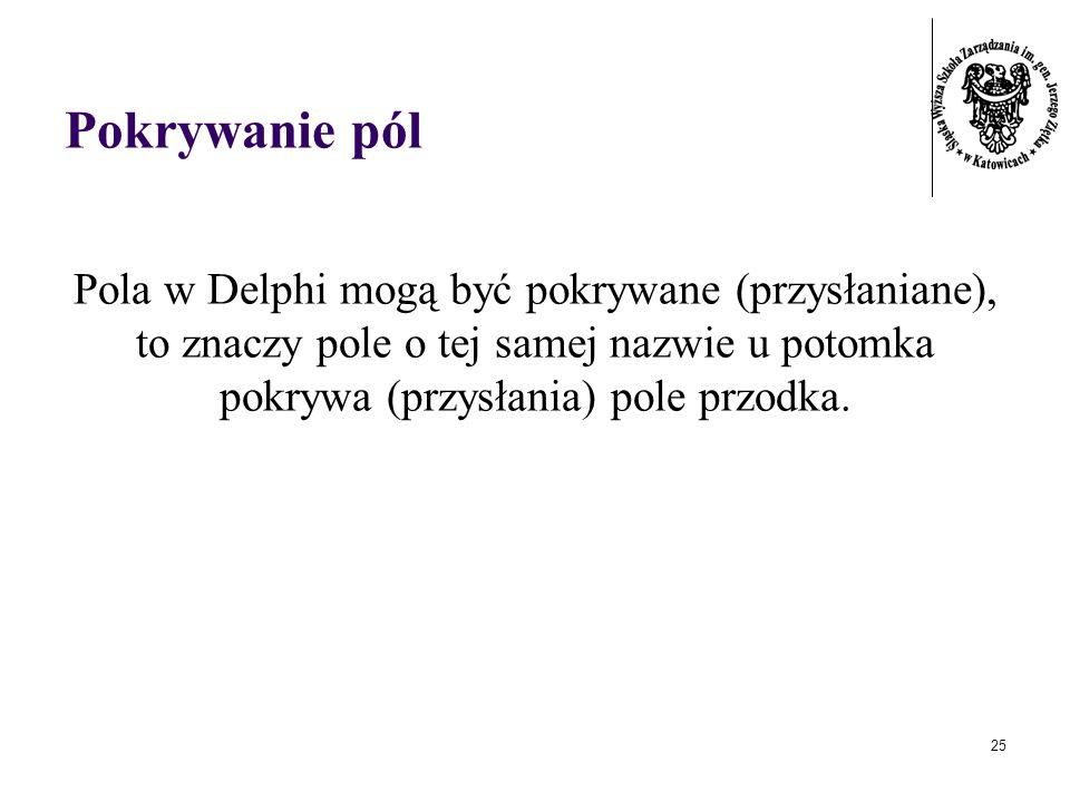 25 Pokrywanie pól Pola w Delphi mogą być pokrywane (przysłaniane), to znaczy pole o tej samej nazwie u potomka pokrywa (przysłania) pole przodka.