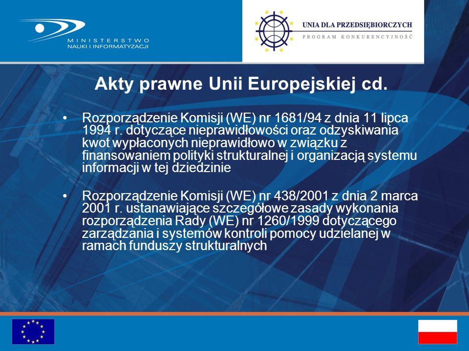 Akty prawne Unii Europejskiej cd. Rozporządzenie Komisji (WE) nr 1681/94 z dnia 11 lipca 1994 r.
