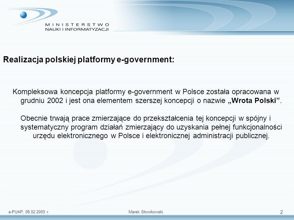 e-PUAP, 08.02.2005 r.Marek Słowikowski 3 MISJA PROGRAMU WROTA POLSKI: Zwiększenie o 10 procent rzeczywistej, a o 40 procent – potencjalnej efektywności administracji publicznej, związanej ze świadczeniem usług publicznych oraz z realizacją innych zadań publicznych przy jednoczesnym polepszeniu przejrzystości pracy administracji (tzn.