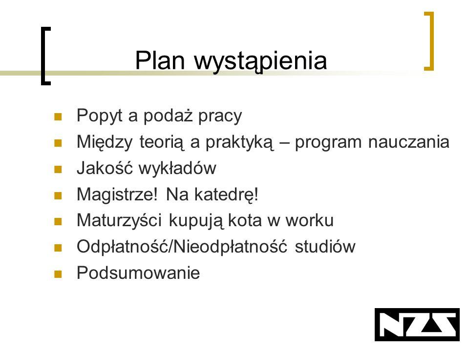 Plan wystąpienia Popyt a podaż pracy Między teorią a praktyką – program nauczania Jakość wykładów Magistrze.