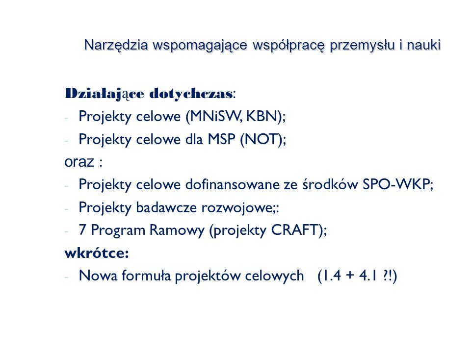 Narzędzia wspomagające współpracę przemysłu i nauki Działaj ą ce dotychczas : - Projekty celowe (MNiSW, KBN); - Projekty celowe dla MSP (NOT); oraz : - Projekty celowe dofinansowane ze środków SPO-WKP; - Projekty badawcze rozwojowe;: - 7 Program Ramowy (projekty CRAFT); wkrótce: - Nowa formuła projektów celowych (1.4 + 4.1 !)