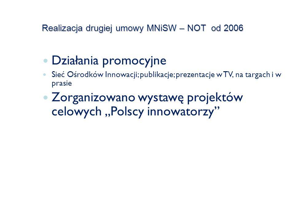 Realizacja drugiej umowy MNiSW – NOT od 2006 Działania promocyjne Sieć Ośrodków Innowacji; publikacje; prezentacje w TV, na targach i w prasie Zorganizowano wystawę projektów celowych Polscy innowatorzy