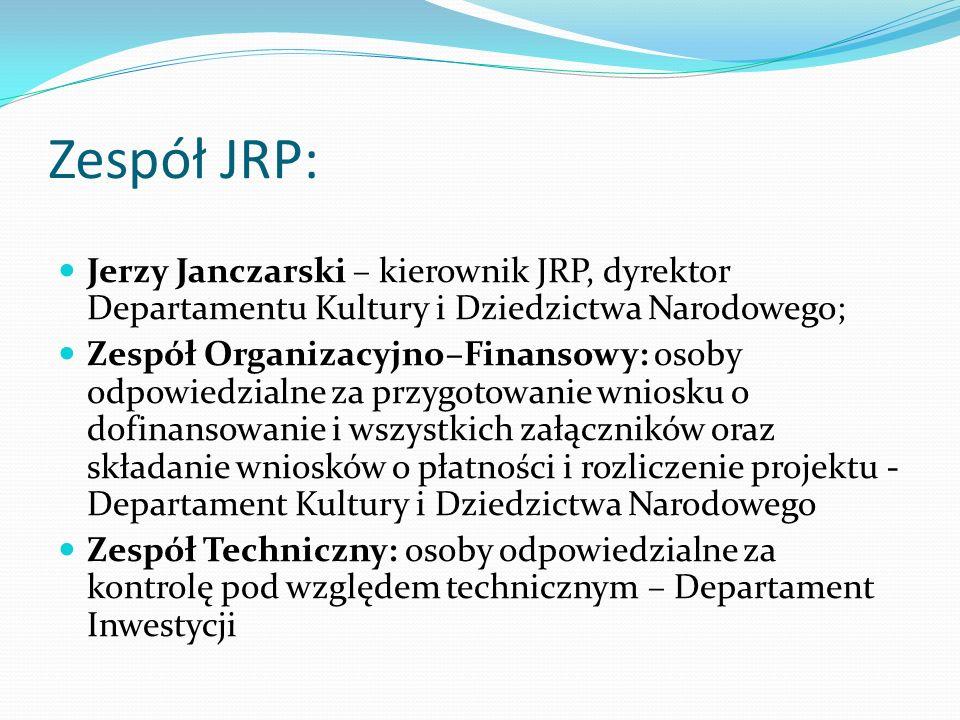 Zespół JRP: Jerzy Janczarski – kierownik JRP, dyrektor Departamentu Kultury i Dziedzictwa Narodowego; Zespół Organizacyjno–Finansowy: osoby odpowiedzi