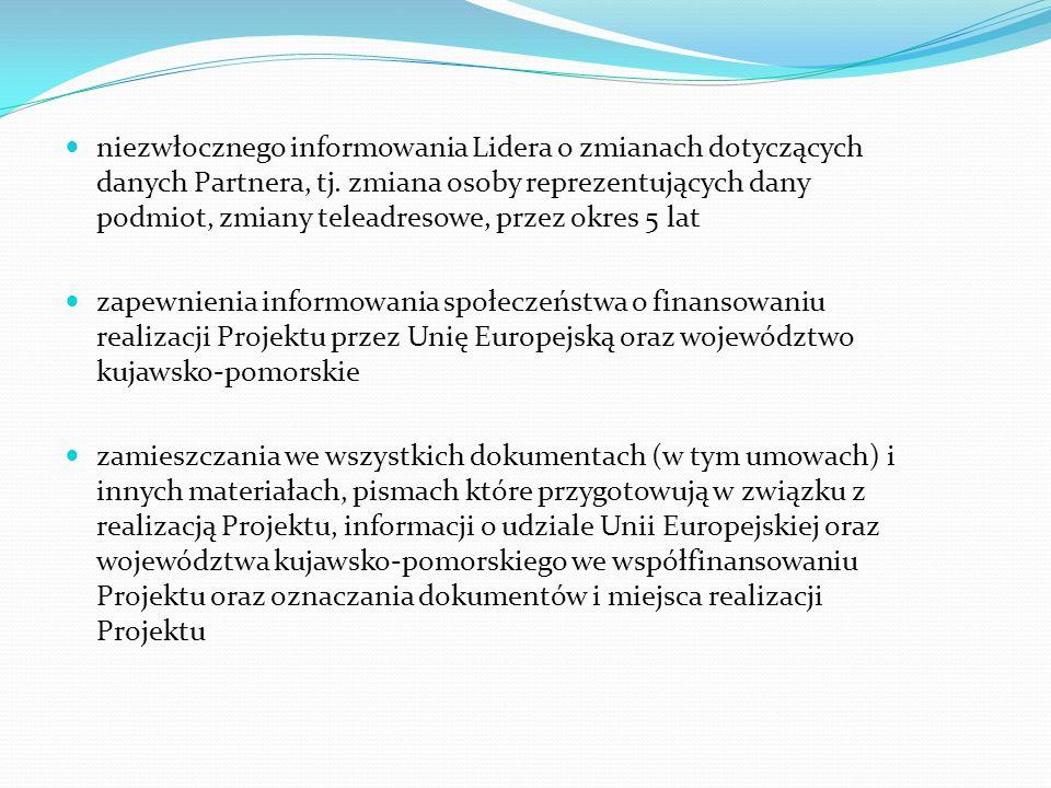 niezwłocznego informowania Lidera o zmianach dotyczących danych Partnera, tj. zmiana osoby reprezentujących dany podmiot, zmiany teleadresowe, przez o