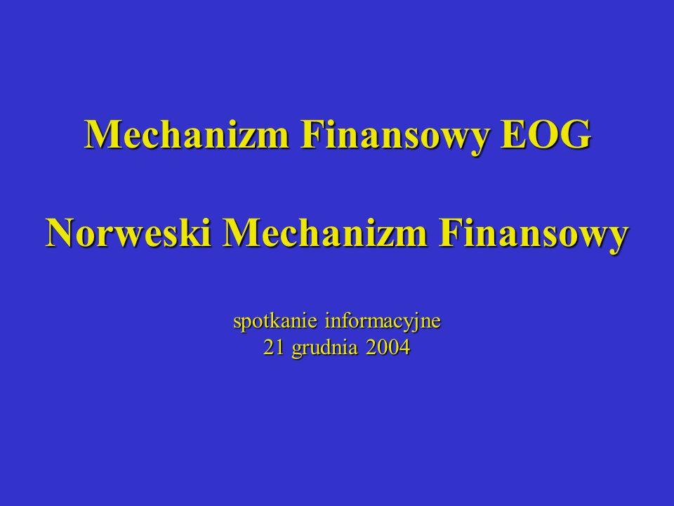 Mechanizm Finansowy EOG Norweski Mechanizm Finansowy spotkanie informacyjne 21 grudnia 2004