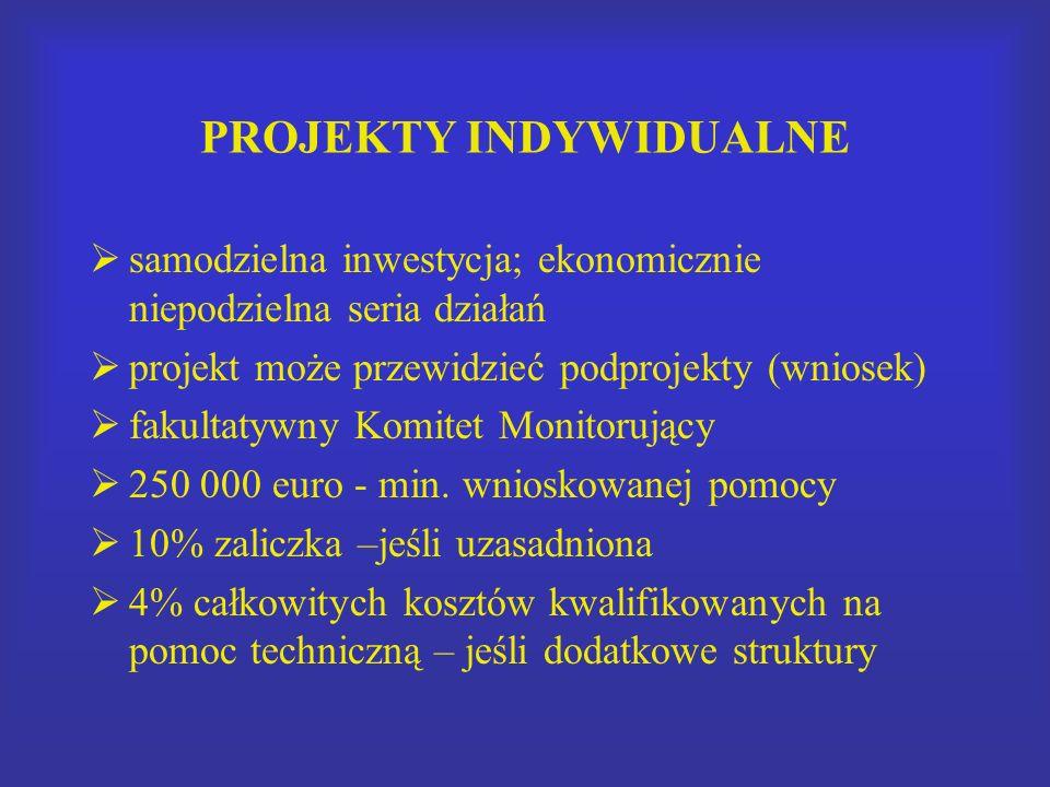 PROJEKTY INDYWIDUALNE samodzielna inwestycja; ekonomicznie niepodzielna seria działań projekt może przewidzieć podprojekty (wniosek) fakultatywny Komitet Monitorujący 250 000 euro - min.
