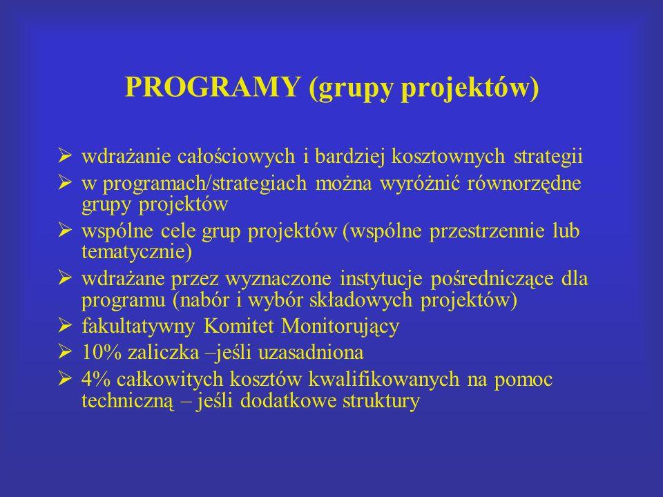 PROGRAMY (grupy projektów) wdrażanie całościowych i bardziej kosztownych strategii w programach/strategiach można wyróżnić równorzędne grupy projektów wspólne cele grup projektów (wspólne przestrzennie lub tematycznie) wdrażane przez wyznaczone instytucje pośredniczące dla programu (nabór i wybór składowych projektów) fakultatywny Komitet Monitorujący 10% zaliczka –jeśli uzasadniona 4% całkowitych kosztów kwalifikowanych na pomoc techniczną – jeśli dodatkowe struktury