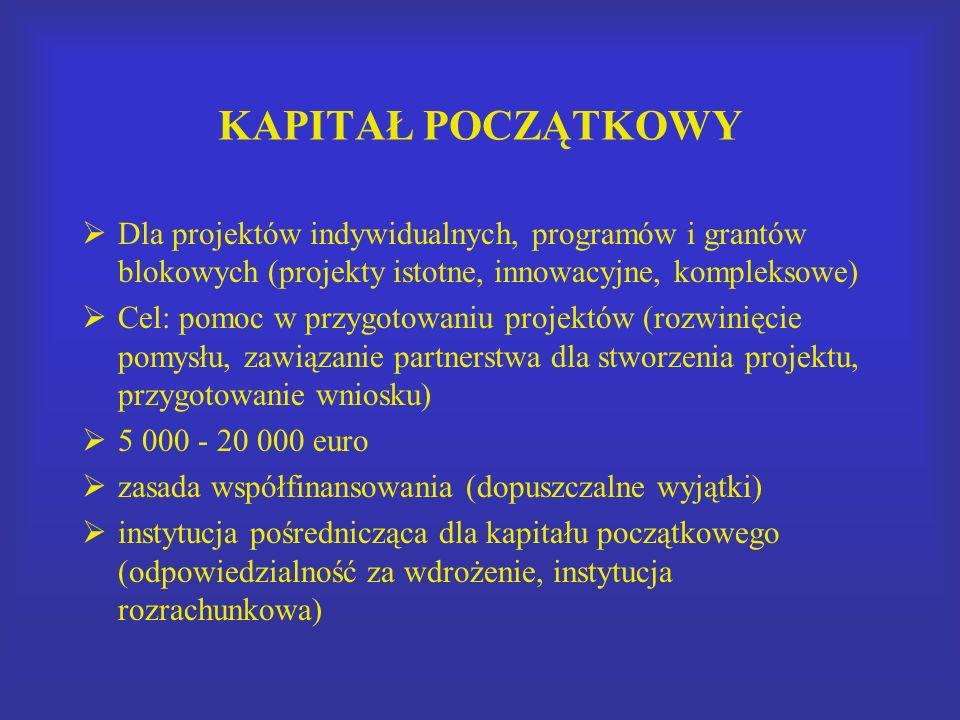 KAPITAŁ POCZĄTKOWY Dla projektów indywidualnych, programów i grantów blokowych (projekty istotne, innowacyjne, kompleksowe) Cel: pomoc w przygotowaniu projektów (rozwinięcie pomysłu, zawiązanie partnerstwa dla stworzenia projektu, przygotowanie wniosku) 5 000 - 20 000 euro zasada współfinansowania (dopuszczalne wyjątki) instytucja pośrednicząca dla kapitału początkowego (odpowiedzialność za wdrożenie, instytucja rozrachunkowa)