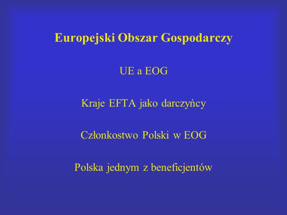 Europejski Obszar Gospodarczy UE a EOG Kraje EFTA jako darczyńcy Członkostwo Polski w EOG Polska jednym z beneficjentów