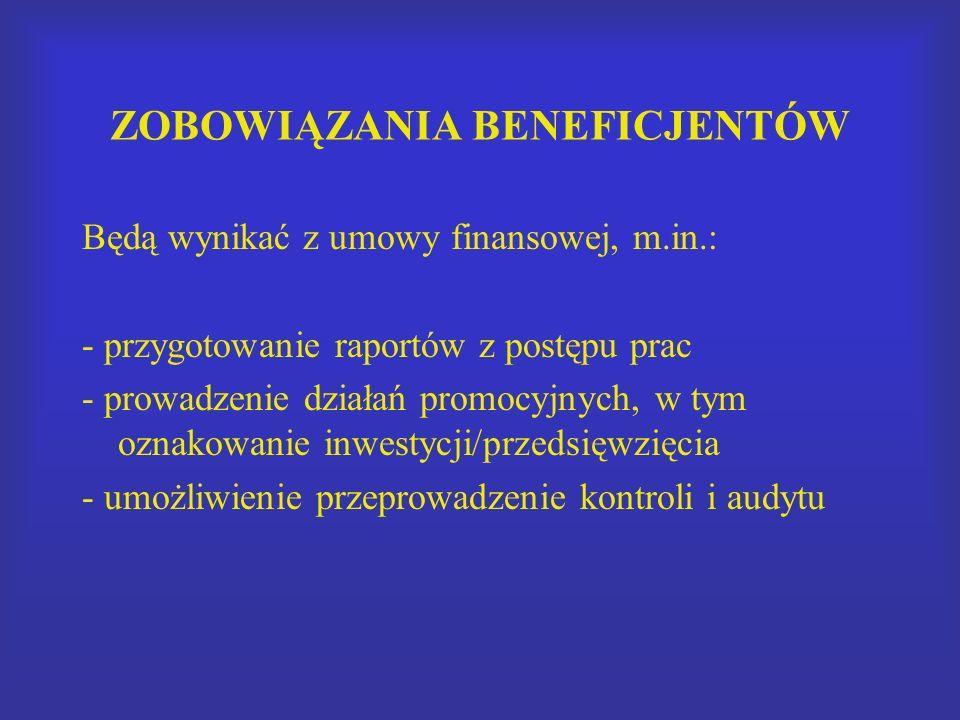 ZOBOWIĄZANIA BENEFICJENTÓW Będą wynikać z umowy finansowej, m.in.: - przygotowanie raportów z postępu prac - prowadzenie działań promocyjnych, w tym oznakowanie inwestycji/przedsięwzięcia - umożliwienie przeprowadzenie kontroli i audytu