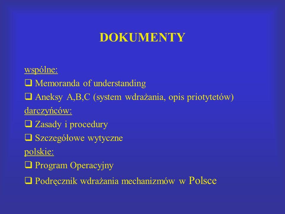 DOKUMENTY wspólne: Memoranda of understanding Aneksy A,B,C (system wdrażania, opis priotytetów) darczyńców: Zasady i procedury Szczegółowe wytyczne po