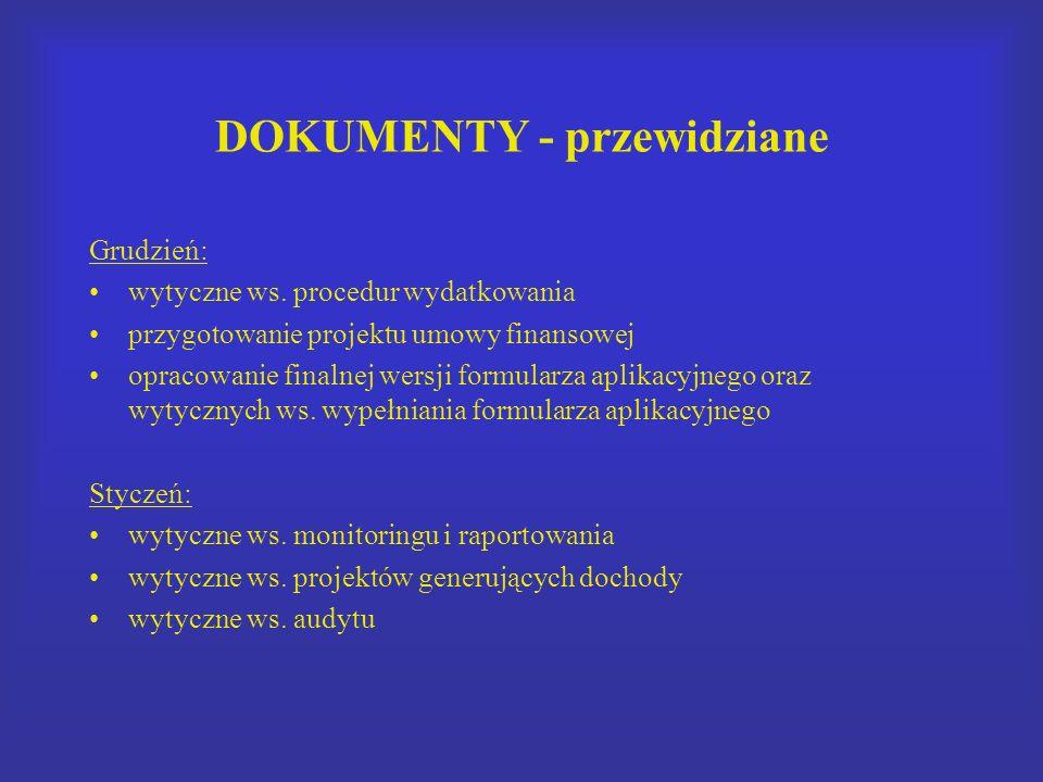 DOKUMENTY - przewidziane Grudzień: wytyczne ws. procedur wydatkowania przygotowanie projektu umowy finansowej opracowanie finalnej wersji formularza a