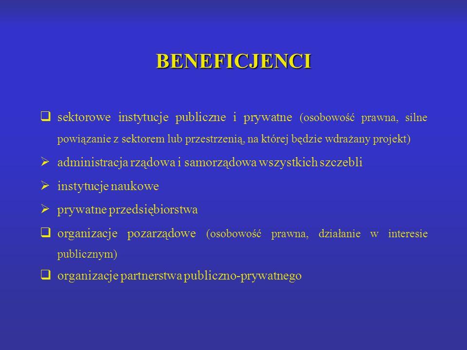 BENEFICJENCI sektorowe instytucje publiczne i prywatne (osobowość prawna, silne powiązanie z sektorem lub przestrzenią, na której będzie wdrażany projekt) administracja rządowa i samorządowa wszystkich szczebli instytucje naukowe prywatne przedsiębiorstwa organizacje pozarządowe (osobowość prawna, działanie w interesie publicznym) organizacje partnerstwa publiczno-prywatnego